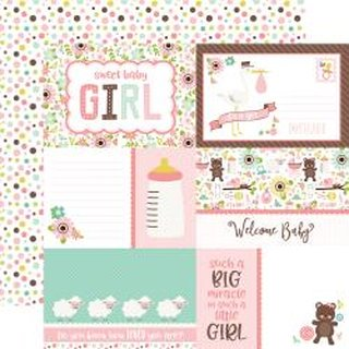 Echo Park, Designpapier, Sweet Baby Girl - Journaling cards
