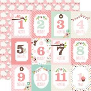 Echo Park, Designpapier, Sweet Baby Girl - Month cards