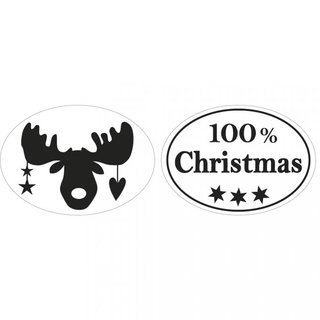 Rayher. Labels 100% Christmas+Elch, 25x35mm, oval