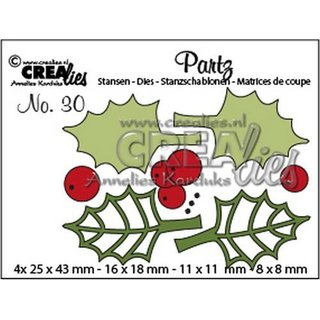 Crealies, Partz Nr. 29 - Holly Leaves & Berries