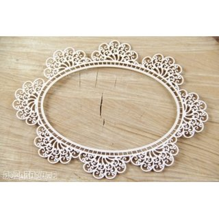 Scrapiniec, Chipboards - Doily lace - Oval Doily