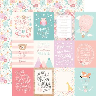 Echo Park, Designpapier, Hello Baby Girl - 3x4 Journaling Cards